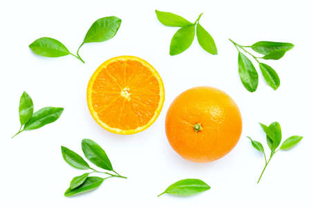 High vitamin C, Juicy orange fruit with leaves on white background. Copy space