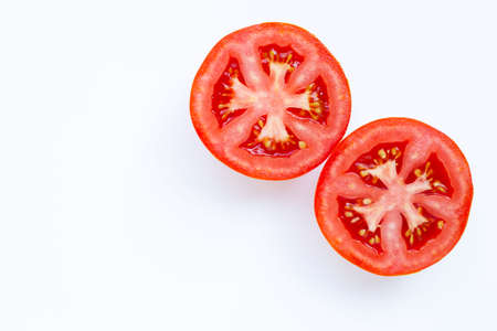 Fresh tomatoes on white background. Copy space