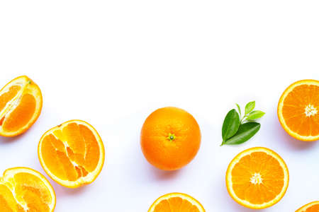 High vitamin C, Juicy and sweet. Fresh orange fruit on white background. Archivio Fotografico
