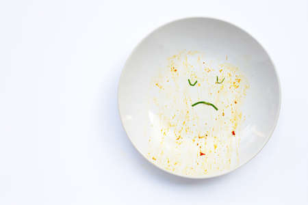 Dirty dish unhappy face on white background. Top view, Copy space