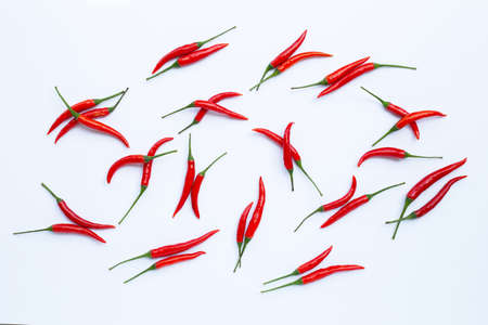 Hot chili peppers on white background. Top view