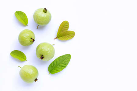 Top view of fresh ripe guava with leaves on white background. Copy space 写真素材