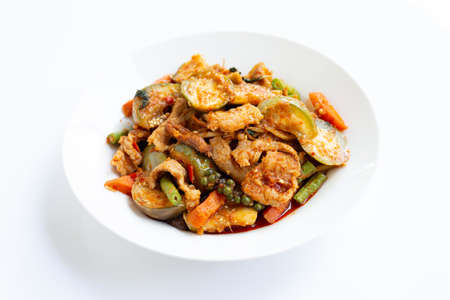 Thai food, Hot and spicy stir-fried pork with herbs