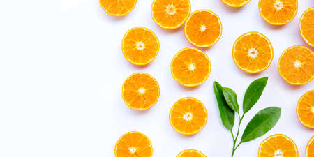 Orange fruit with leaves on white background. Copy space 版權商用圖片