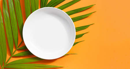Empty white ceramic plate on tropical palm leaves on orange background. Top view Imagens