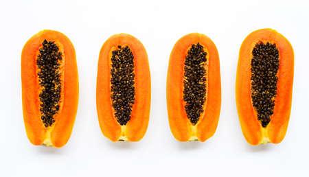 Sweet ripe papaya on white background.