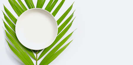 Empty white ceramic plate on tropical palm leaves on white background. Top view Imagens