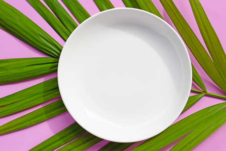 Empty white ceramic plate on tropical palm leaves on pink background. Top view