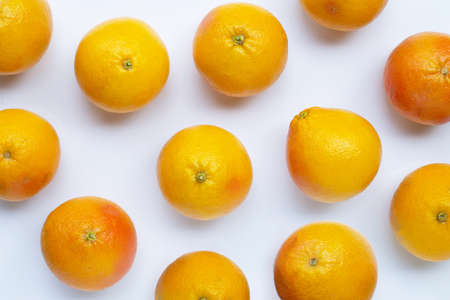 Fresh grapefruit on white background. Top view