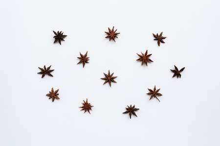 Star anis on white background. Top view