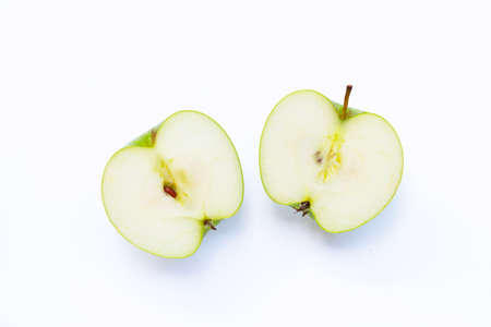 Green apple on white background. Copy space