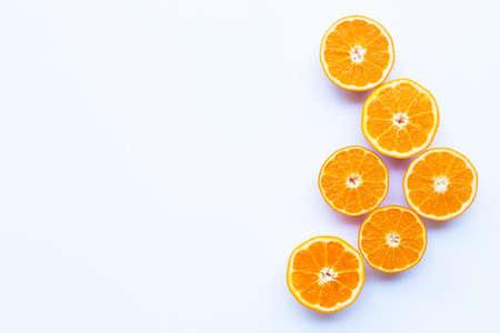 High vitamin C. Fresh orange citrus fruit on white background. Copy space