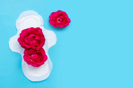 White sanitary napkin with red roses on blue background. Copy space Imagens