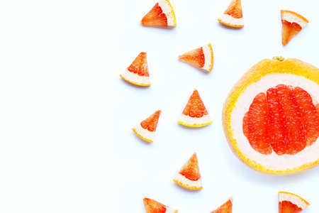 High vitamin C. Juicy grapefruit slices on white background.