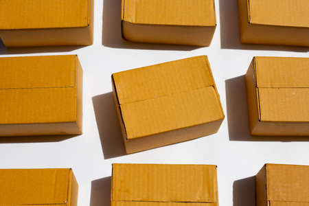 Brown cardboard boxes on white background.