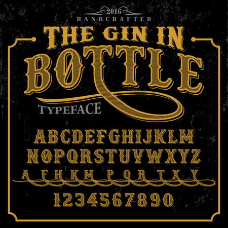 handcrafted: The Gin in Bottle label font and sample label design with decoration. Vintage handcrafted font illustration.