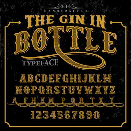 The Gin in Bottle label font and sample label design with decoration. Vintage handcrafted font illustration.