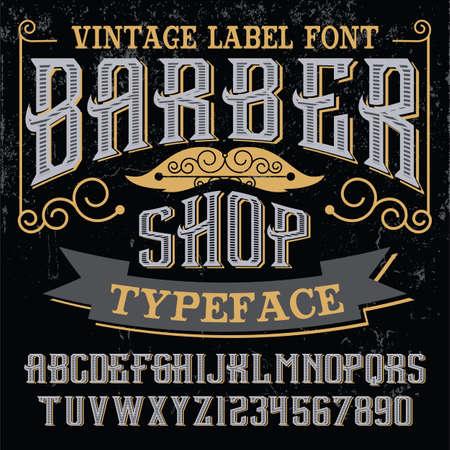 typeface: Vintage script font. Vector typeface
