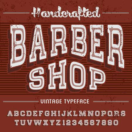 Barber shop vintage letters of English alphabet in active font