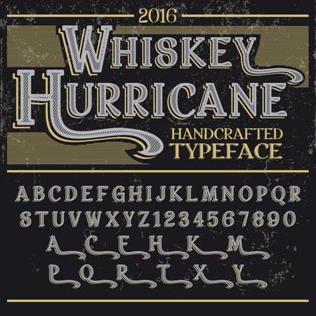 Handcrafted typeface whiskey hurricane letters of english alphabet in active font