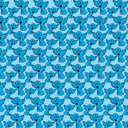 Cute angels seamless pattern on blue background illustration.