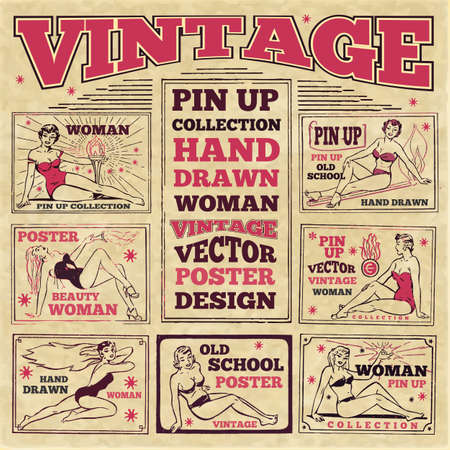 Vintage hand drawn vector girls woman pin up design