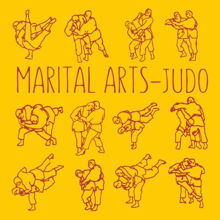 Martial Arts Judo Fight Poses Vector