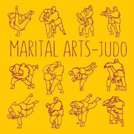 Martial Arts Judo Fight Poses Vector