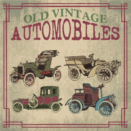 Old and vintage car designs handrawn in vector