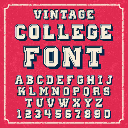 College vintage letters of english alphabet in active font