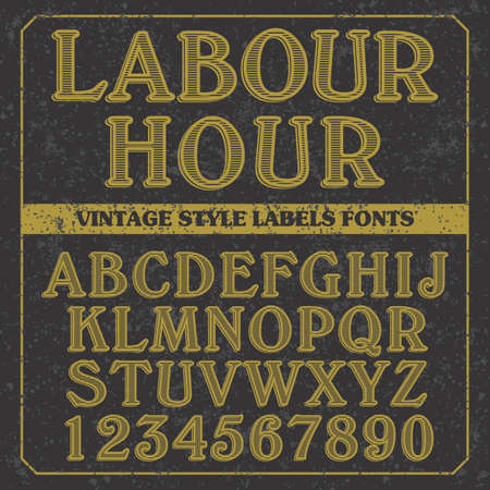 Labor Hour letters of English alphabet in active font