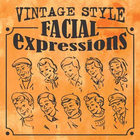 Verschiedene Gesichtsausdrücke im Vintage-Stil