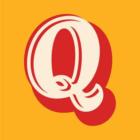 Vintage letter Q font design