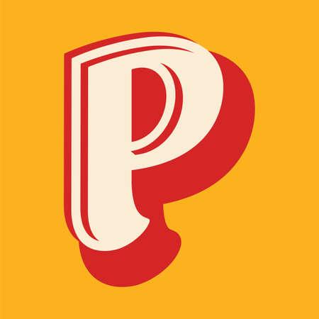 Vintage letter P font design