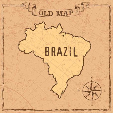 Maps of Brasil in vintage design