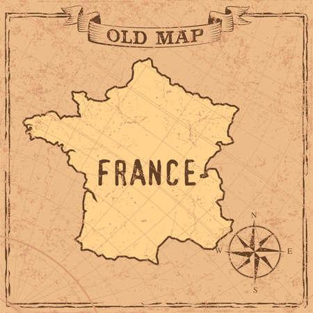 Maps of France in vintage design