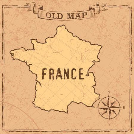 Maps of France in vintage design