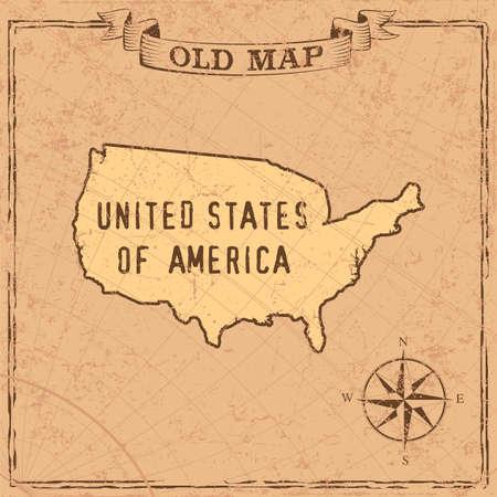 Maps of USA in vintage design