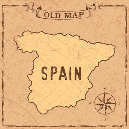 Maps of Spain in vintage design