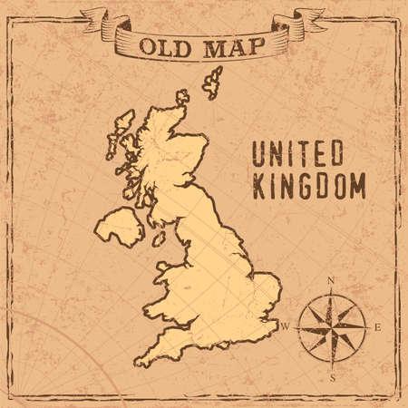 Maps of UK in vintage design