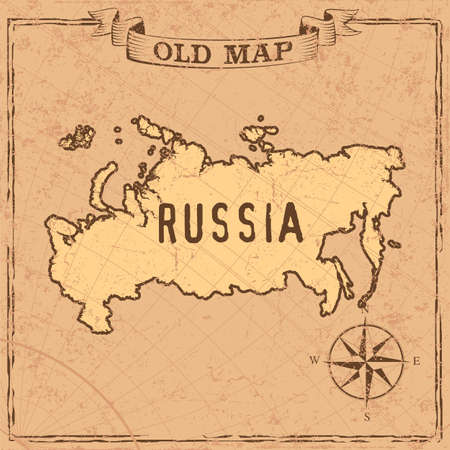 Maps of Russia in vintage design