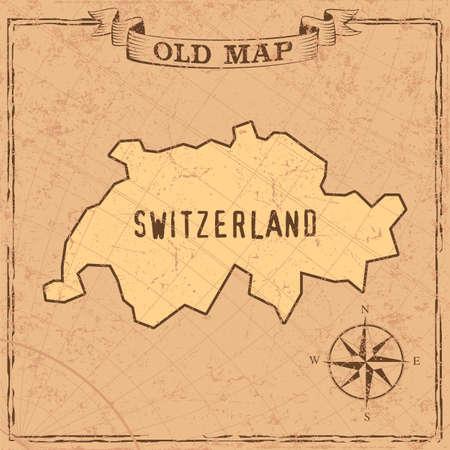 Maps of Switzerland in vintage design