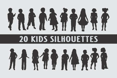 Kids silhouettes set of 20 poses