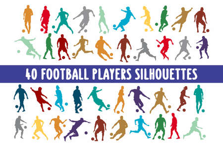 Footbal Players Silhouettes set of 20 poses