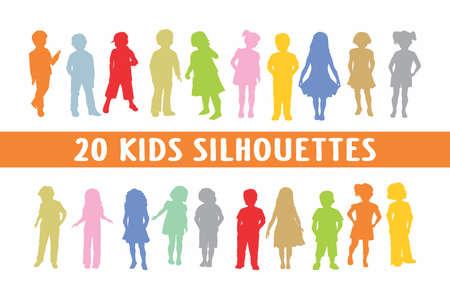 Kids Silhouettes set of 20 poses Illustration