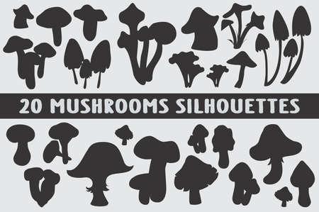 Mushrooms Silhouettes set of 20 poses