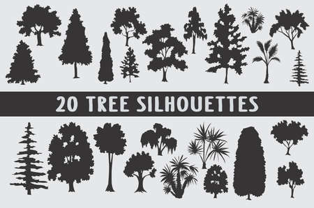 20 tree silhouettes different in shapes