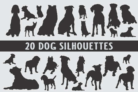 20 Dogs designed in style shapes