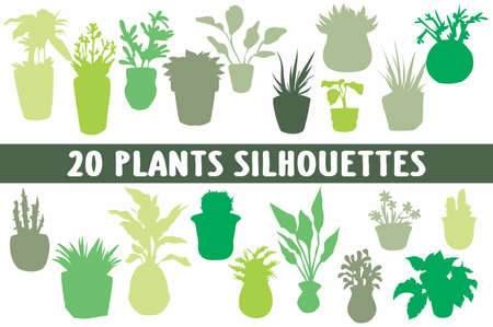 Plants Silhouettes set of 20 poses
