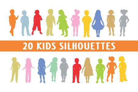 20 kids different poses children Illustration
